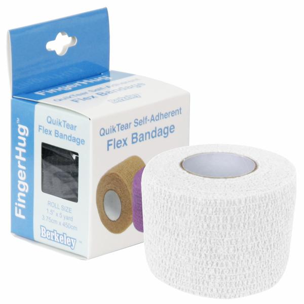 FingerHug QuikTear Self-Adherent Flex Bandage | White